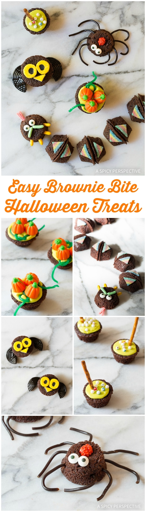 5 Easy Halloween Treats Made with Brownie Bites on ASpicyPerspective.com - Fun for Kids!