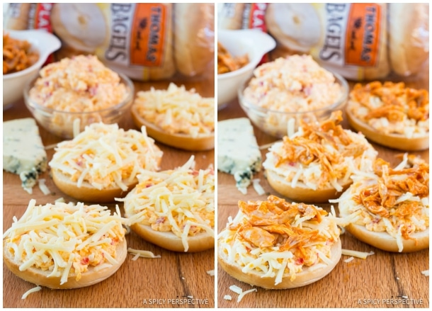 Hot Buffalo Chicken Pimento Cheese Pizza Bagels on ASpicyPerspective.com. 7-Ingredients, Loads of Flavor!