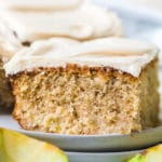Spiced Apple Cake with Salted Caramel Frosting on #ASpicyPerspective #apple #cake #caramel #frosting #caramelapple #sheetcake