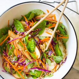 Easy Apple Slaw Salad with Fresh Basil Leaves and Sunflower Seeds on ASpicyPerspective.com