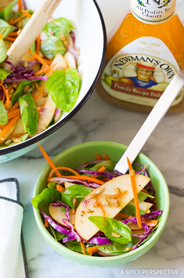 Best Apple Slaw Salad with Fresh Basil Leaves and Sunflower Seeds on ASpicyPerspective.com