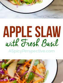 Amazing and Easy Apple Slaw Salad with Fresh Basil Leaves and Sunflower Seeds on ASpicyPerspective.com