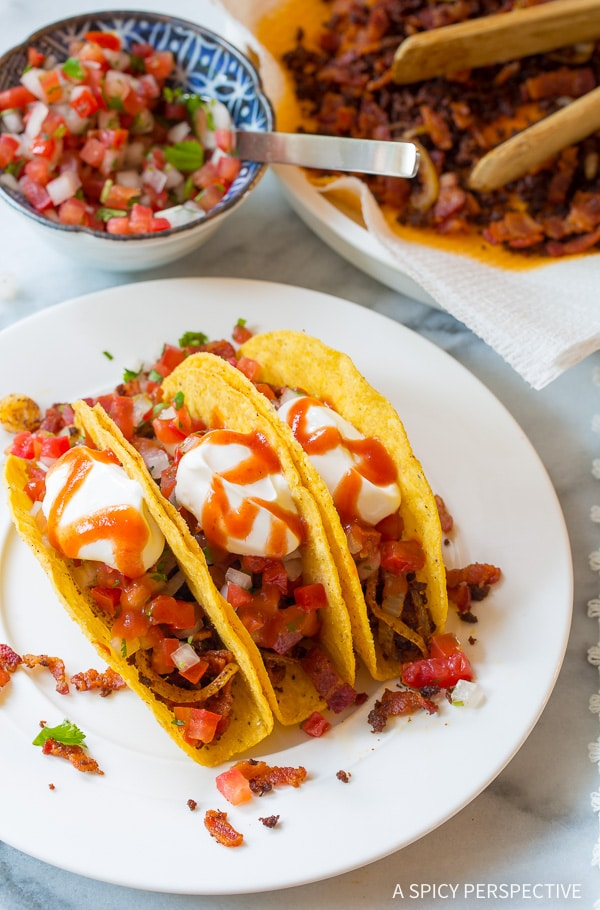 Loving these Bacon Ranch Jalisco Tacos Recipe on ASpicyPerspective.com