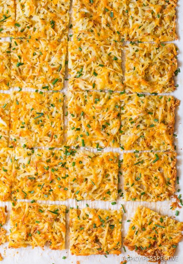 Zesty Baked Hash Brown Recipe on ASpicyPerspective.com #breakfast #potatoes