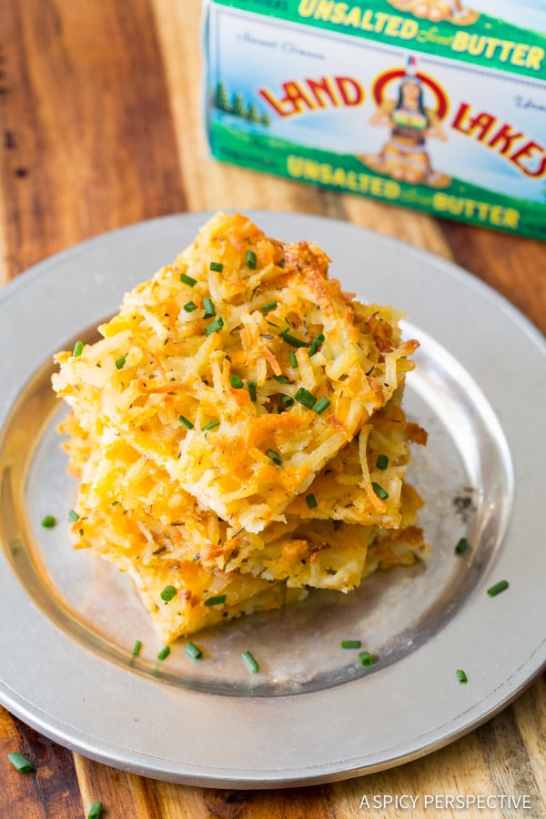 Golden Baked Hash Brown Recipe on ASpicyPerspective.com #breakfast #potatoes