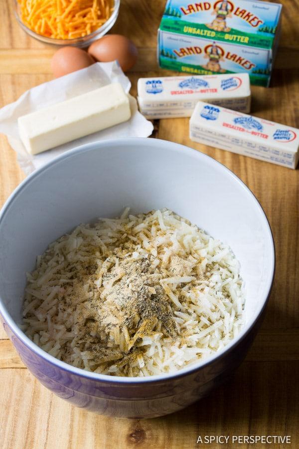 Making Zesty Baked Hash Brown Recipe on ASpicyPerspective.com #breakfast #potatoes