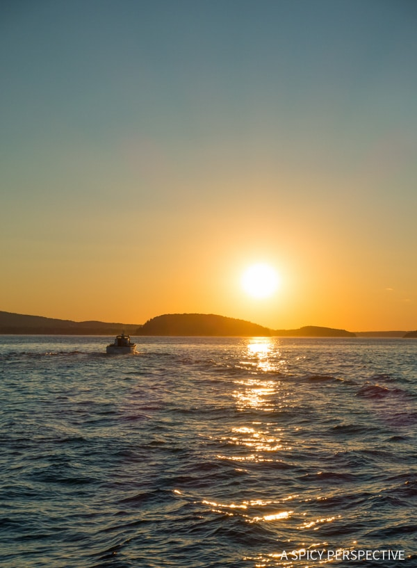Sunset in Bar Harbor, Maine on ASpicyPerspective.com #travel