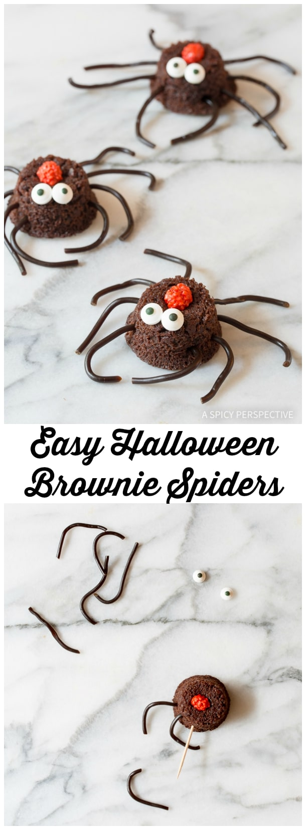 Learn How to Make Spooky Spiders - 5 Easy Halloween Treats Made with Brownie Bites on ASpicyPerspective.com - Fun for Kids!