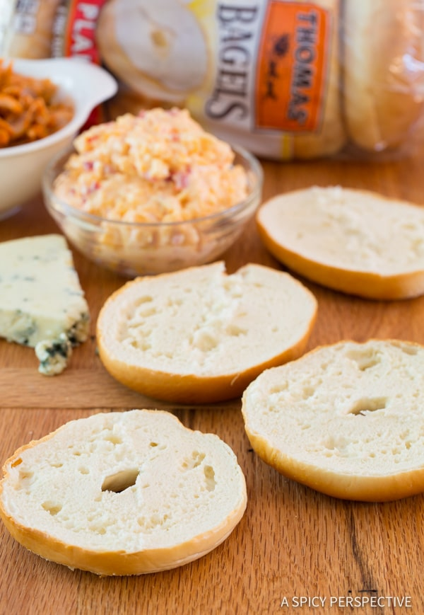 How to Make Buffalo Chicken Pimento Cheese Pizza Bagels on ASpicyPerspective.com. 7-Ingredients, Loads of Flavor!