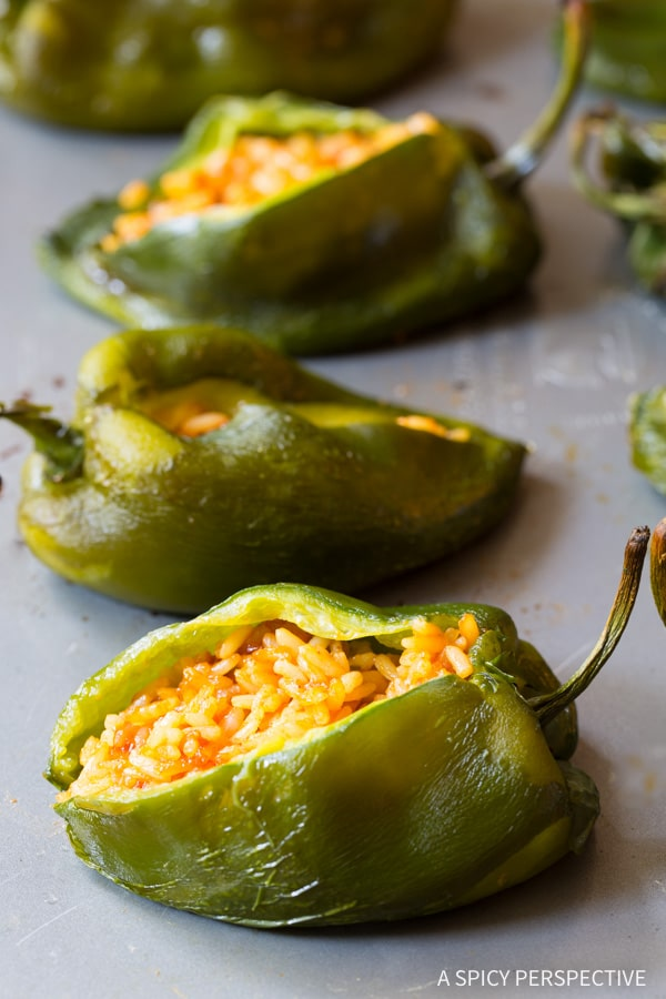 Buffalo Chicken Stuffed Peppers #ASpicyPerspective #BuffaloChicken #PoblanoPeppers #StuffedPeppers #ChickenStuffedPeppers #BuffaloChickenStuffedPeppers #Dinner #MexicanFood