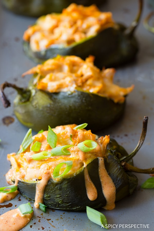 Buffalo Chicken Stuffed Poblano Peppers #ASpicyPerspective #BuffaloChicken #PoblanoPeppers #StuffedPeppers #ChickenStuffedPeppers #BuffaloChickenStuffedPeppers #Dinner #MexicanFood