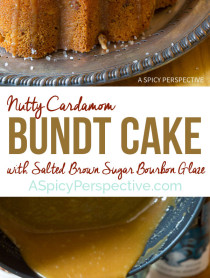 Crazy over this Nutty Cardamom Bundt Cake with Bourbon Glaze on ASpicyPerspective.com