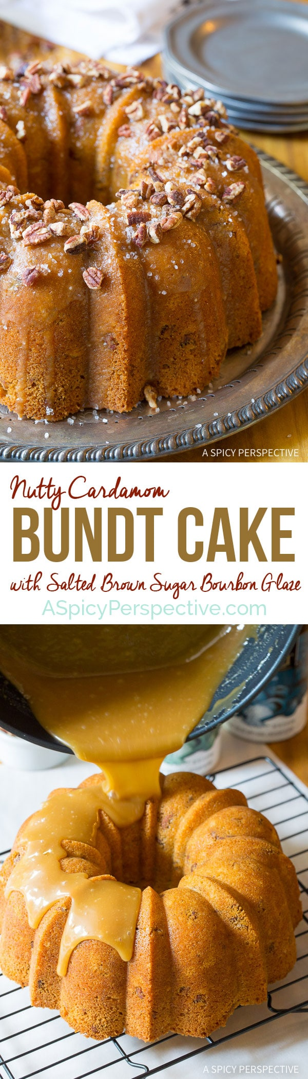 ... Nutty Cardamom Bundt Cake with Bourbon Glaze on ASpicyPerspective.com
