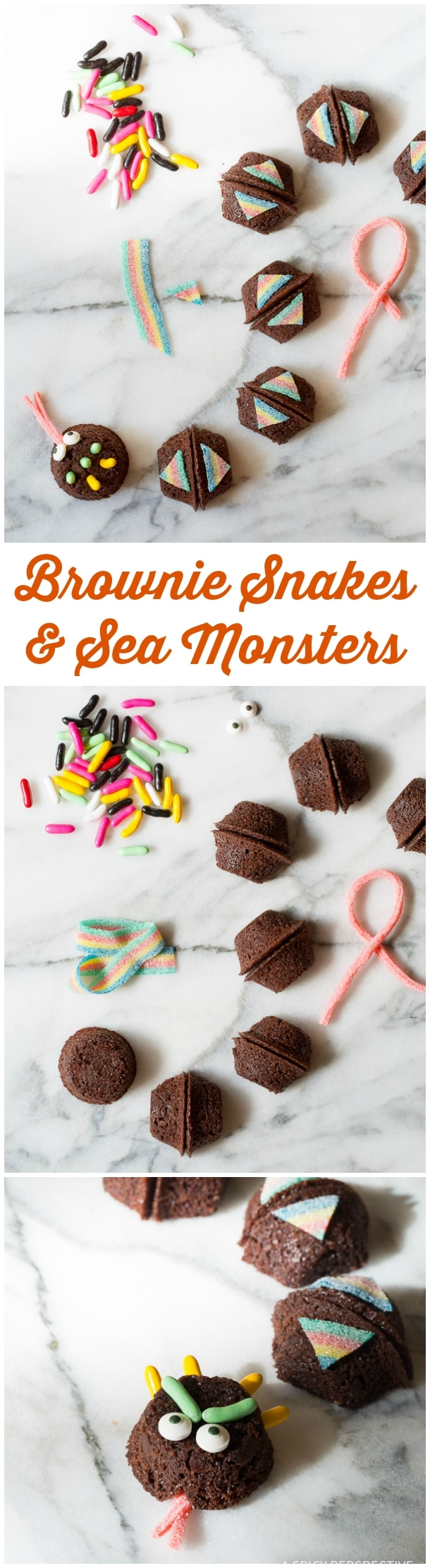 Learn How to Make Snakes and Sea Monsters - 5 Easy Halloween Treats Made with Brownie Bites on ASpicyPerspective.com - Fun for Kids!