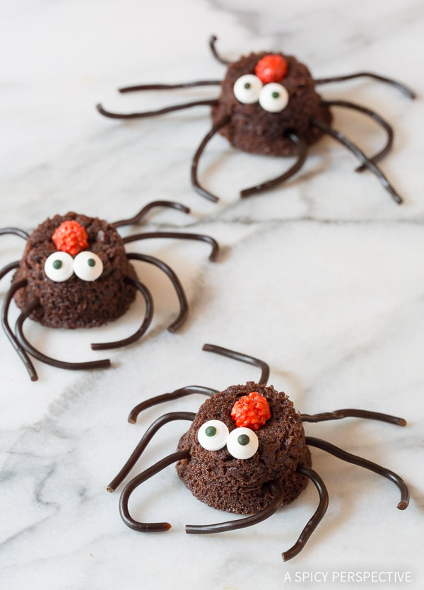 Spiders! 5 Easy Halloween Treats Made with Brownie Bites on ASpicyPerspective.com - Fun for Kids!