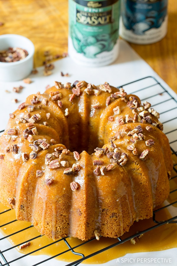 The Best Nutty Cardamom Bundt Cake with Bourbon Glaze on ASpicyPerspective.com