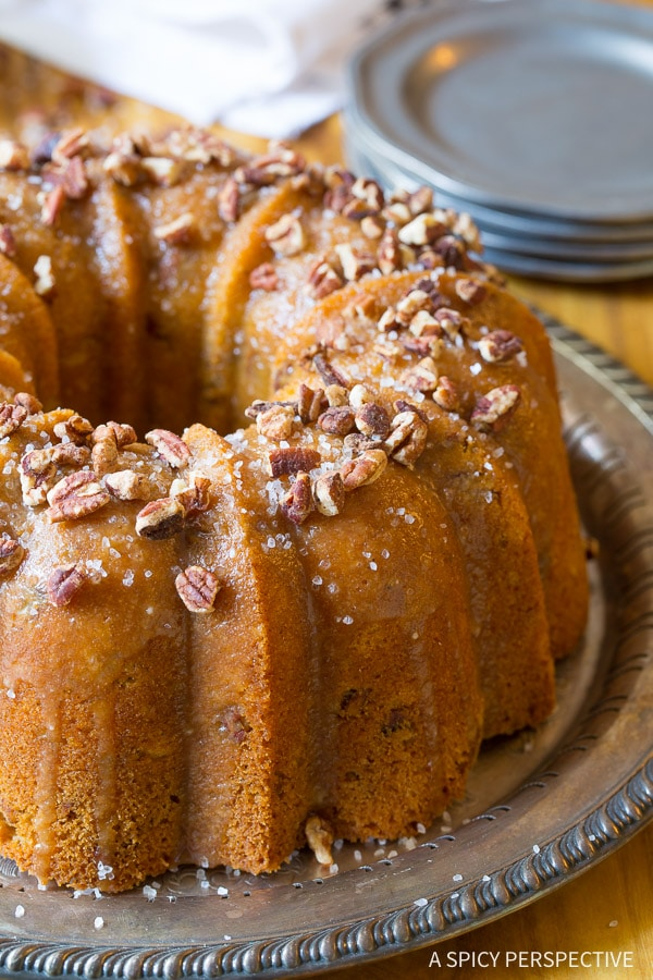 Nutty Cardamom Bundt Cake with Bourbon Glaze on ASpicyPerspective.com
