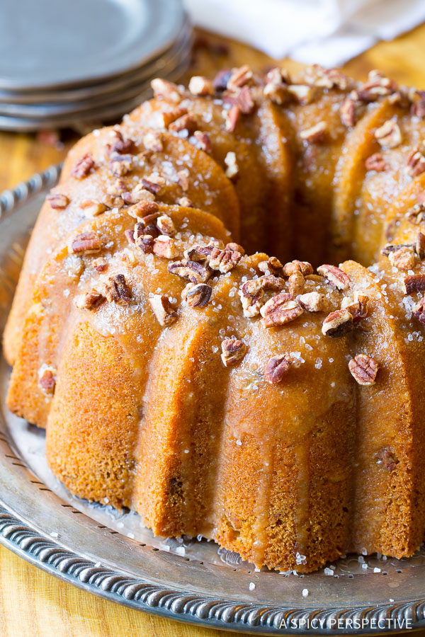 The Most Amazing Nutty Cardamom Bundt Cake with Bourbon Glaze on ASpicyPerspective.com