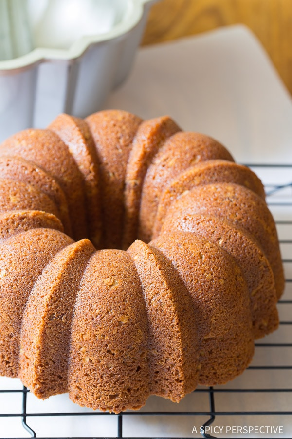 Simple Nutty Cardamom Bundt Cake with Bourbon Glaze