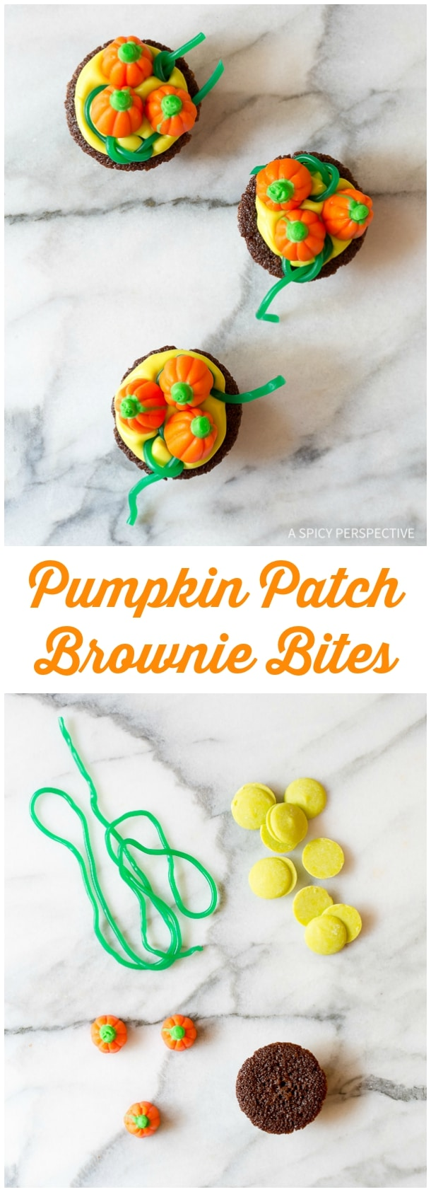Learn How to Make Pumpkin Patches - 5 Easy Halloween Treats Made with Brownie Bites on ASpicyPerspective.com - Fun for Kids!