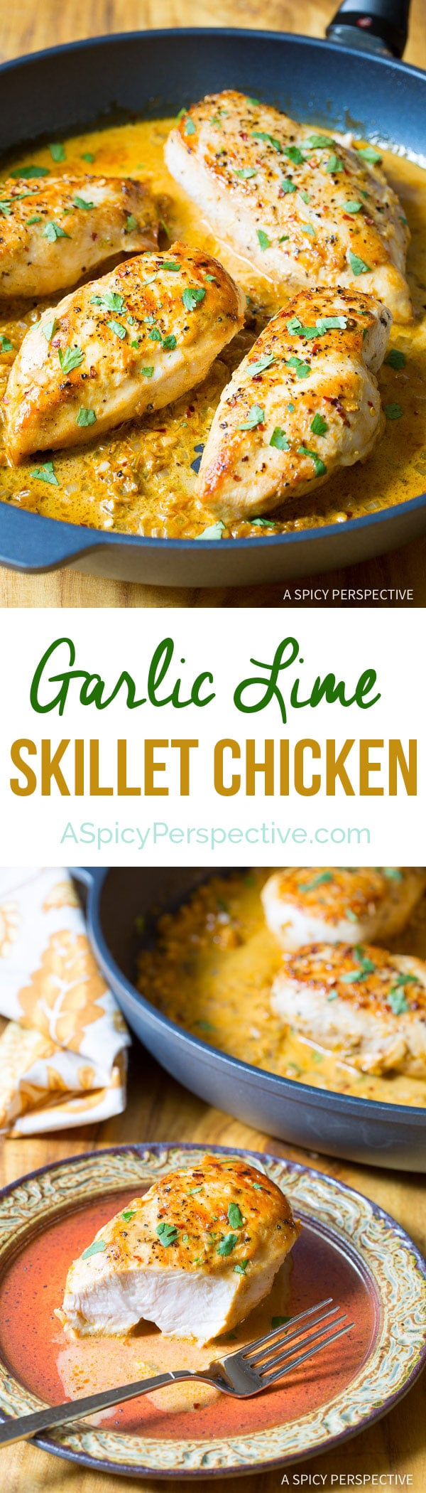 Easy Zesty Garlic Lime Skillet Chicken on ASpicyPerspective.com