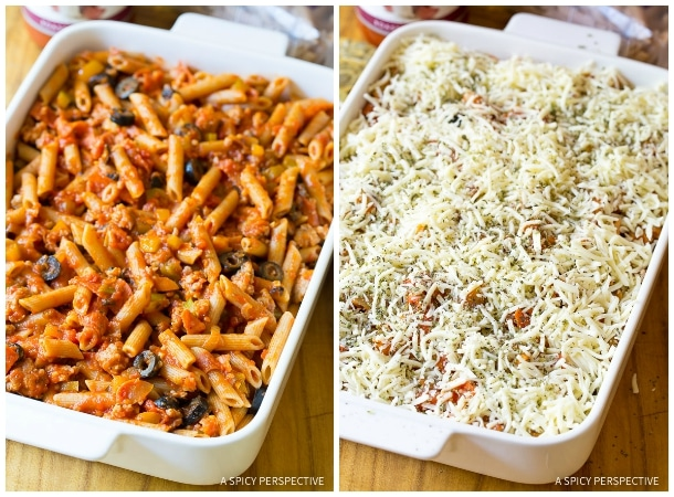 How to Make Supreme Pizza Baked Ziti Recipe on ASpicyPerspective.com #pasta
