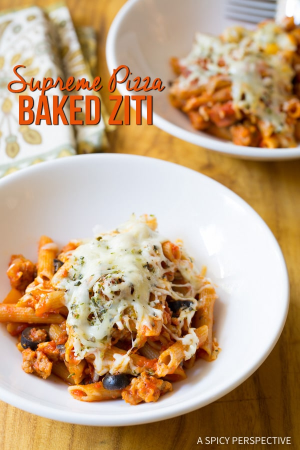 Simple and Comforting Supreme Pizza Baked Ziti Recipe on ASpicyPerspective.com #pasta
