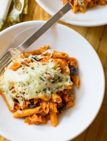 Supreme Pizza Baked Ziti Recipe on ASpicyPerspective.com #pasta