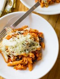 Supreme Pizza Baked Ziti Recipe on ASpicyPerspective.com #pasta