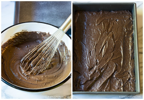 Making Chocolate Mint Texas Sheet Cake on ASpicyPerspective.com