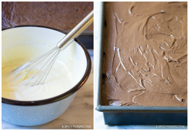Mint Filling and Chocolate Frosting #ASpicyPerspective #Chocolate #Mint #ChocolateMint #TexasSheetCake #TexasSheetCake Recipe #SheetCake #SheetCakeRecipe #Texas #TexanFood #Cake #ChocolateCake