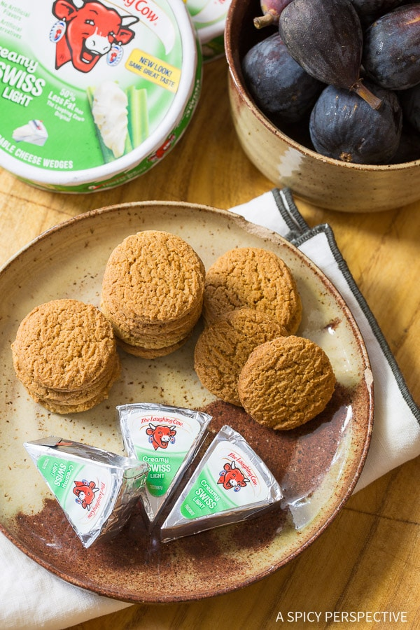 Making 4-Ingredient Snacks - Caramelized Figs with Cheese and Gingersnaps on ASpicyPerspective.com