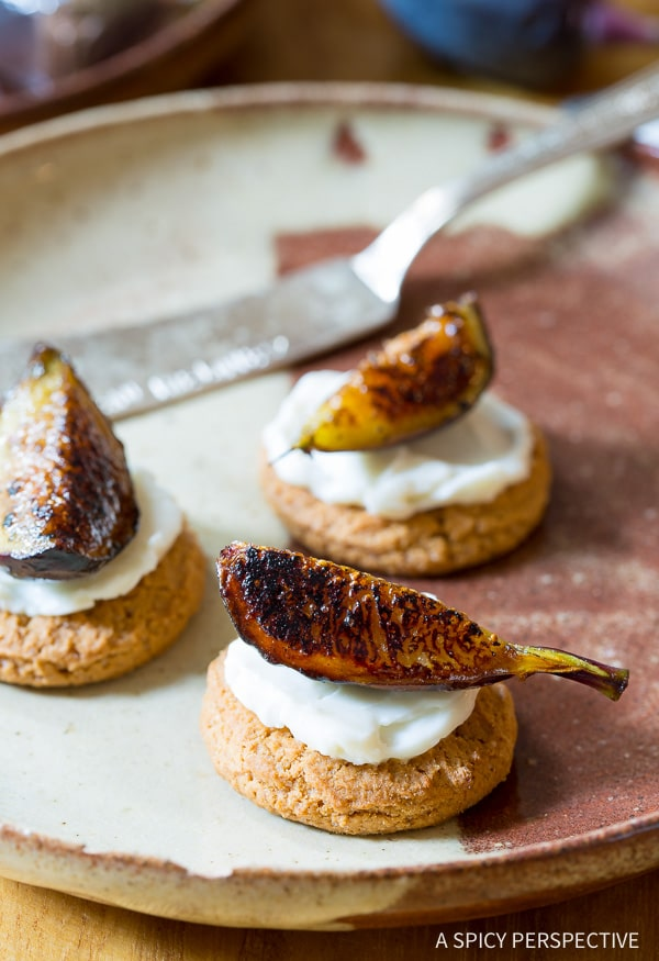 Snacktastic 4-Ingredient Caramelized Figs with Cheese and Gingersnaps on ASpicyPerspective.com