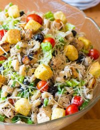 Best Chicken Caesar Pasta Salad with Homemade Caesar Dressing on ASpicyPerspective.com