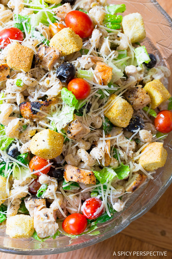 Light and Healthy Chicken Caesar Pasta Salad with Homemade Caesar Dressing on ASpicyPerspective.com