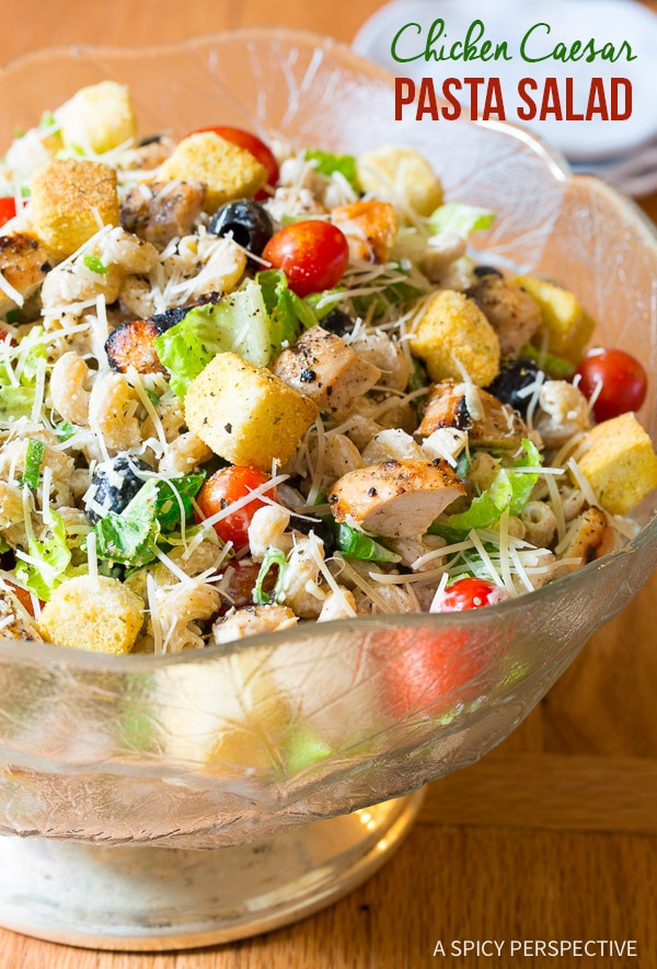 Healthified Chicken Caesar Pasta Salad with Homemade Caesar Dressing on ASpicyPerspective.com