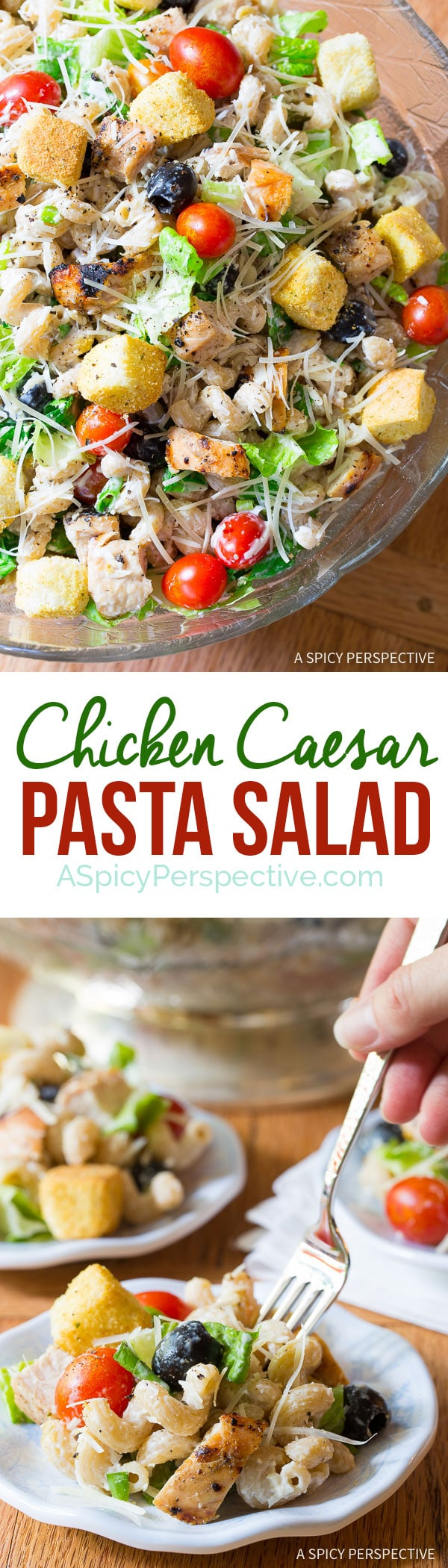 Try this Light and Healthy Chicken Caesar Pasta Salad with Homemade Caesar Dressing on ASpicyPerspective.com.