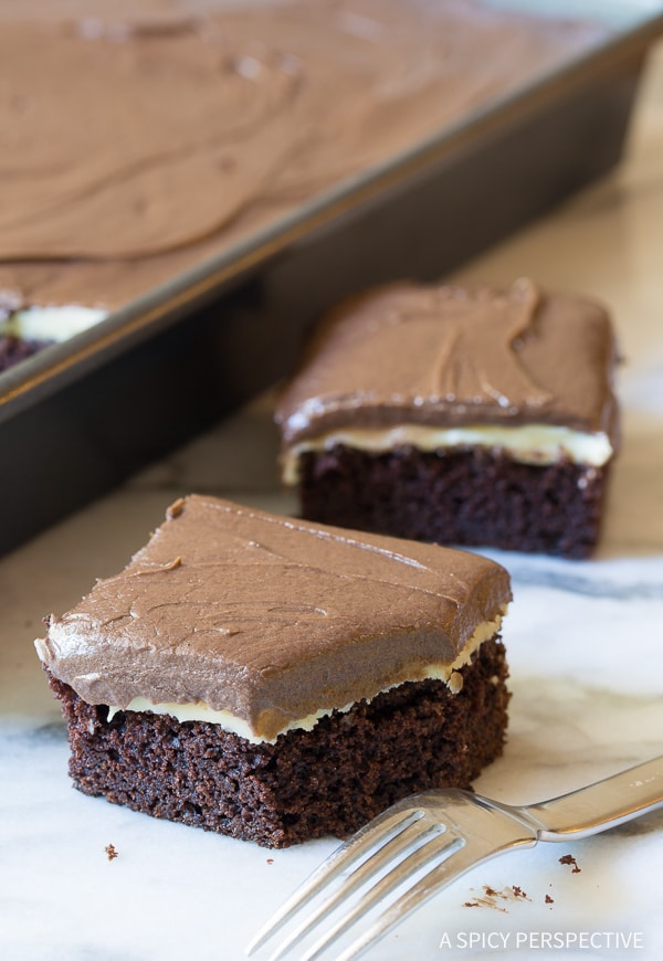 Sheet Cake #ASpicyPerspective #Chocolate #Mint #ChocolateMint #TexasSheetCake #TexasSheetCake Recipe #SheetCake #SheetCakeRecipe #Texas #TexanFood #Cake #ChocolateCake