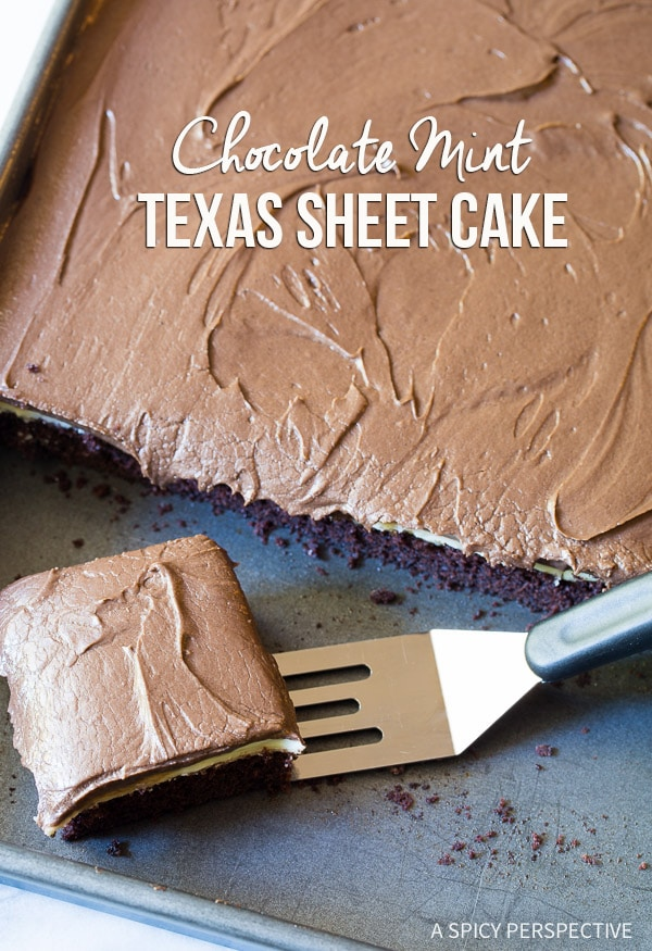 AWESOME Chocolate Mint Texas Sheet Cake on ASpicyPerspective.com