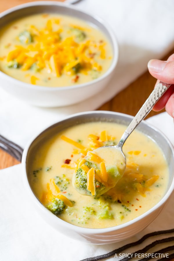 Lightened-Up Broccoli Cheddar Soup Recipe on ASpicyPerspective.com - All of the flavor, none of the guilt!