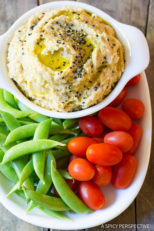 Light and Healthy Miso Hummus Recipe on ASpicyPerspective.com