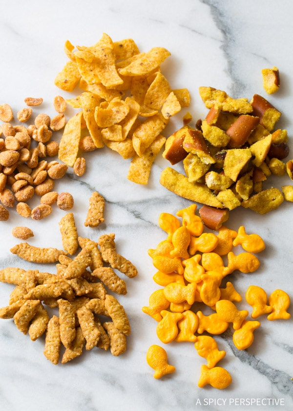 Our Favorite Perfect 5-Ingredient Party Mix Recipe on ASpicyPerspective.com