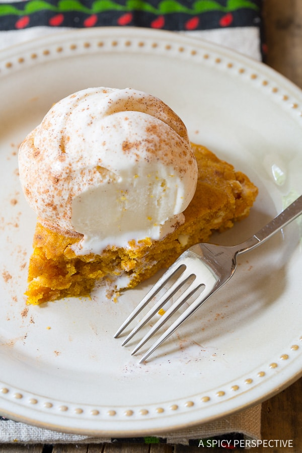 Need These Skillet Pumpkin Blondie Recipe on ASpicyPerspective.com
