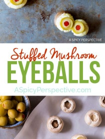Spooky 5-ingredient Stuffed Mushroom Eyeballs for Halloween on ASpicyPerspective.com