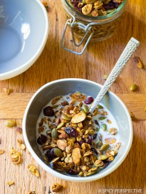 Baked Pumpkin Granola Recipe on ASpicyPerspective.com