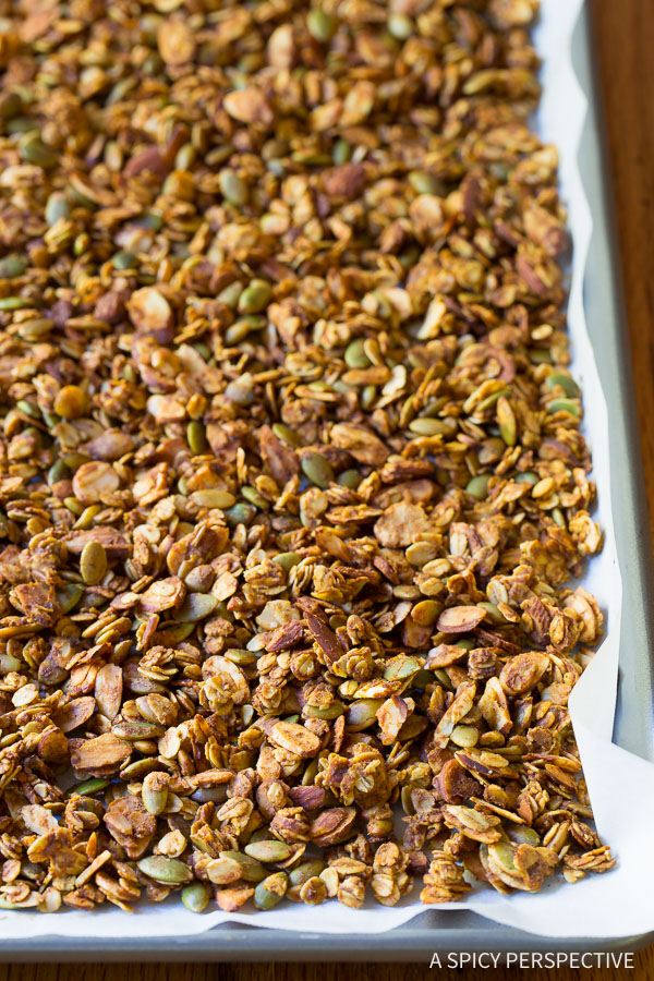 How to Make Baked Pumpkin Granola Recipe on ASpicyPerspective.com
