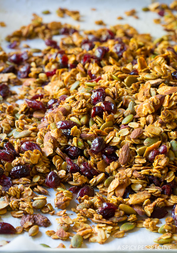 Homemade Pumpkin Granola Recipe on ASpicyPerspective.com