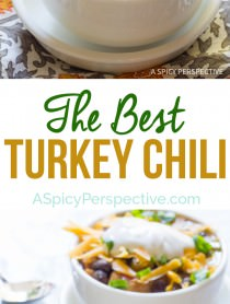 Absolutely The Best Turkey Chili Recipe on ASpicyPerspective.com #thanksgiving #leftovers