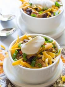 The Absolute Best Turkey Chili Recipe on ASpicyPerspective.com #thanksgiving #leftovers