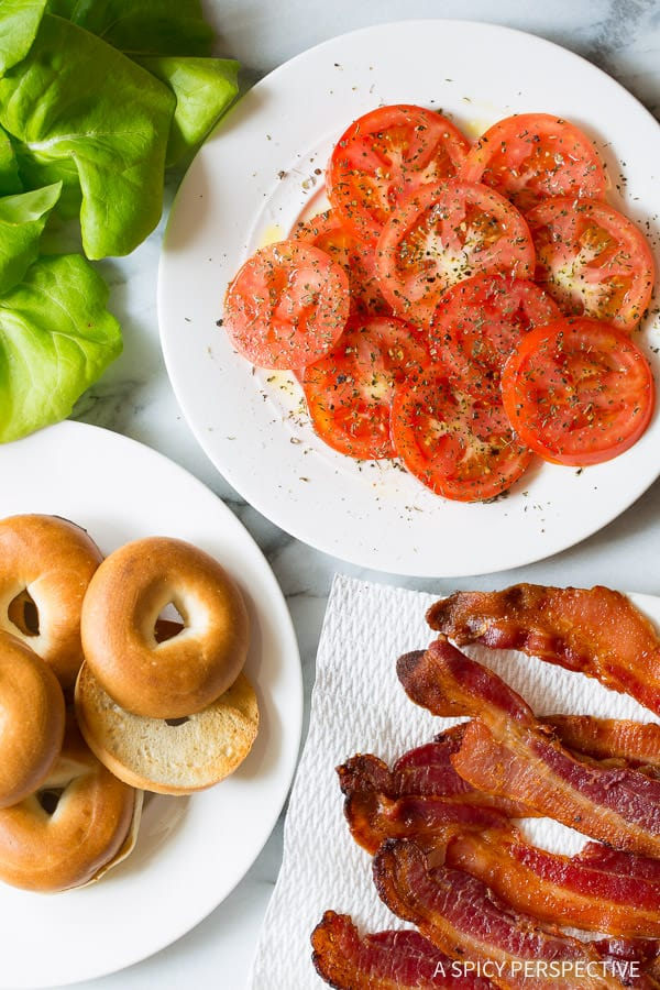 How to Make The Ultimate Breakfast BLT with Creamy Roasted Red Pepper Spread on ASpicyPerspective.com